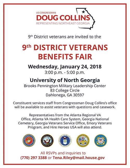9th District Veterans Benefits Fair on Wednesday, January 24, 2018
